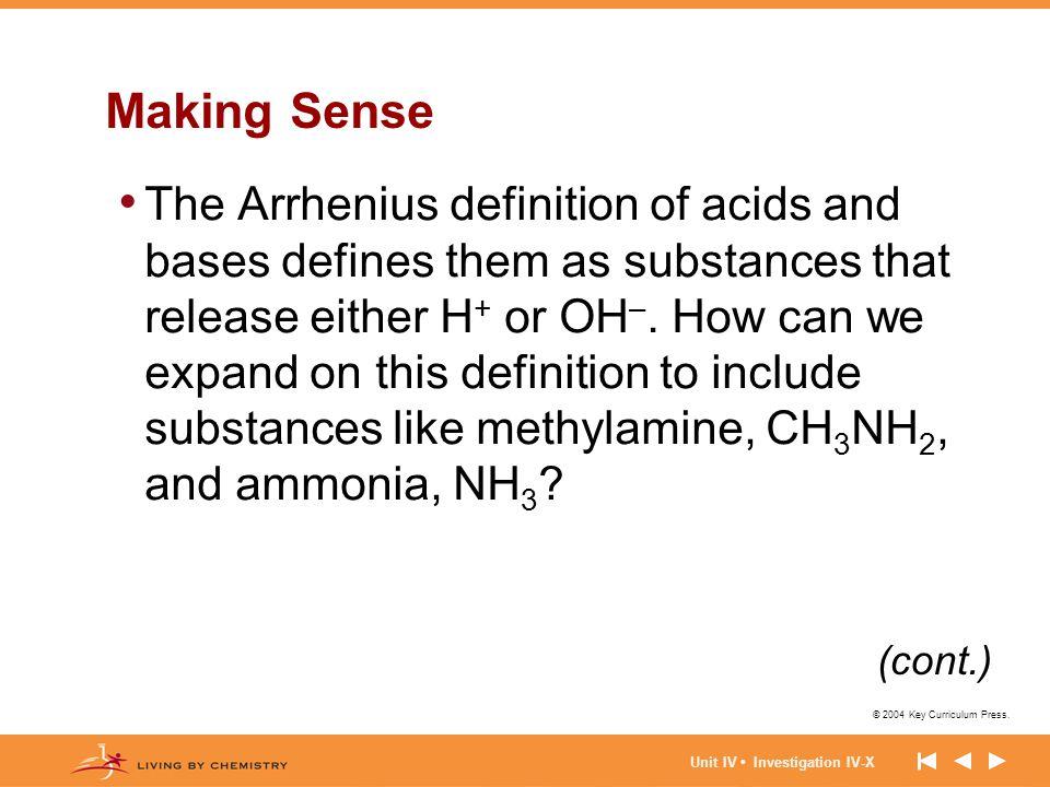 © 2004 Key Curriculum Press. Unit IV Investigation IV-X Making Sense The Arrhenius definition of acids and bases defines them as substances that relea