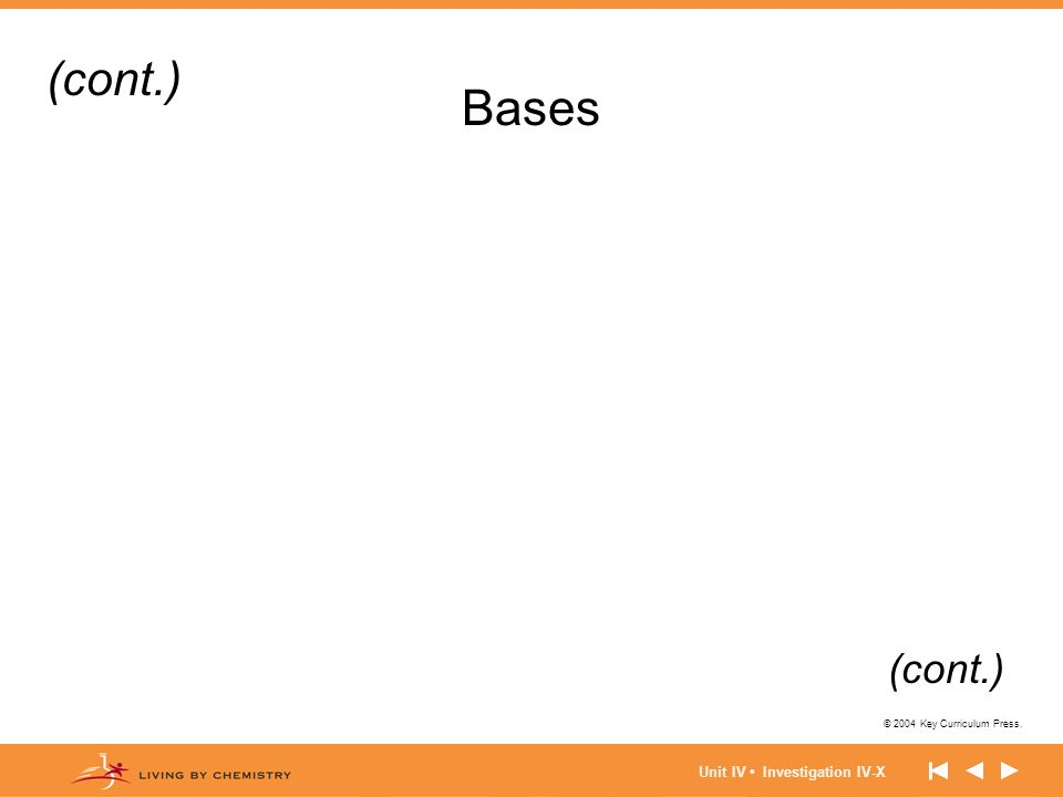 © 2004 Key Curriculum Press. Unit IV Investigation IV-X Bases (cont.)