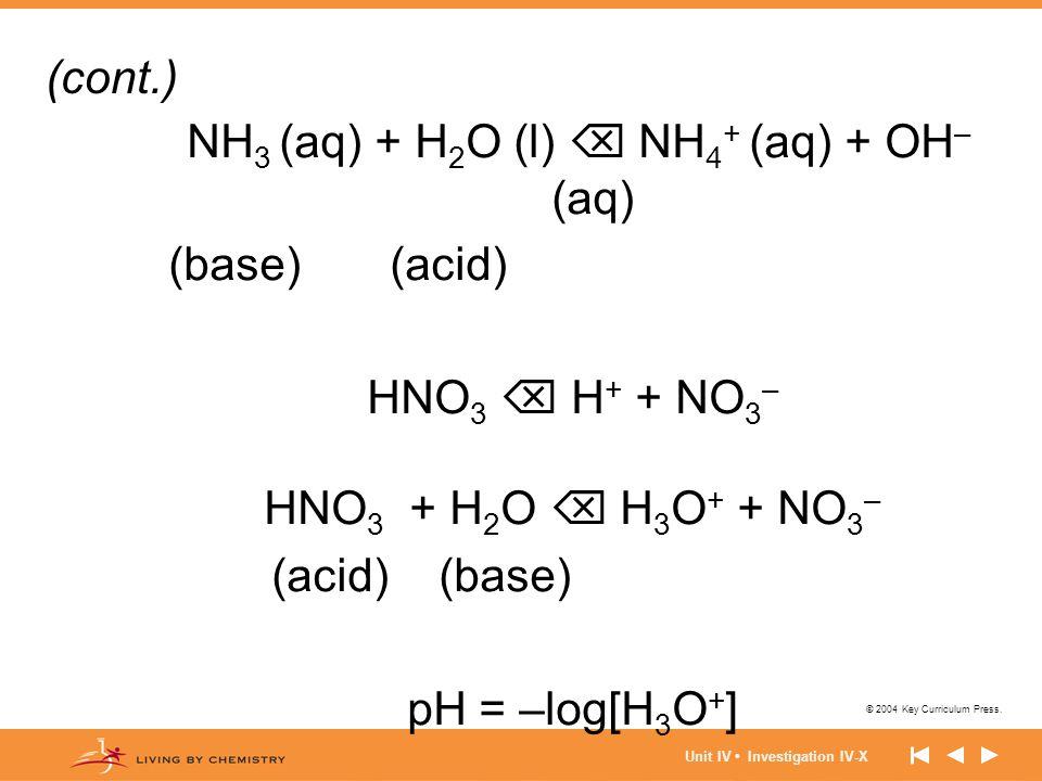 © 2004 Key Curriculum Press. Unit IV Investigation IV-X NH 3 (aq) + H 2 O (l)  NH 4 + (aq) + OH – (aq) (base) (acid) HNO 3  H + + NO 3 – HNO 3 + H 2