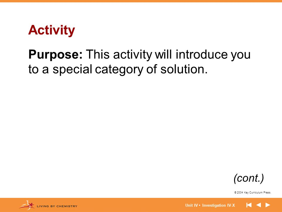 © 2004 Key Curriculum Press. Unit IV Investigation IV-X Activity Purpose: This activity will introduce you to a special category of solution. (cont.)