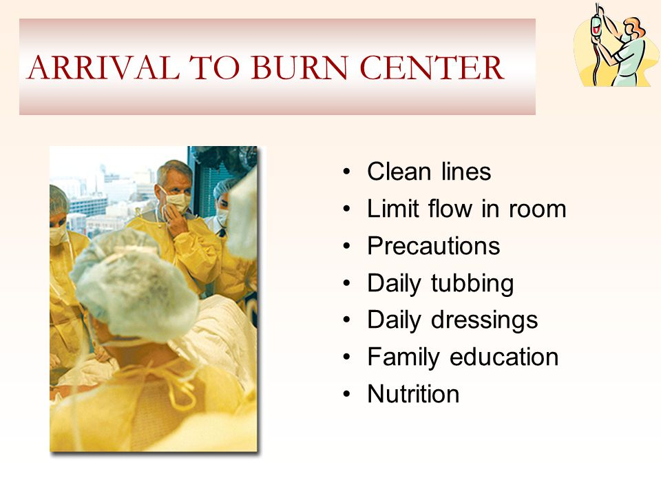 ARRIVAL TO BURN CENTER Clean lines Limit flow in room Precautions Daily tubbing Daily dressings Family education Nutrition