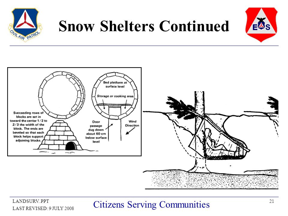 21LANDSURV..PPT LAST REVISED: 9 JULY 2008 Citizens Serving Communities Snow Shelters Continued