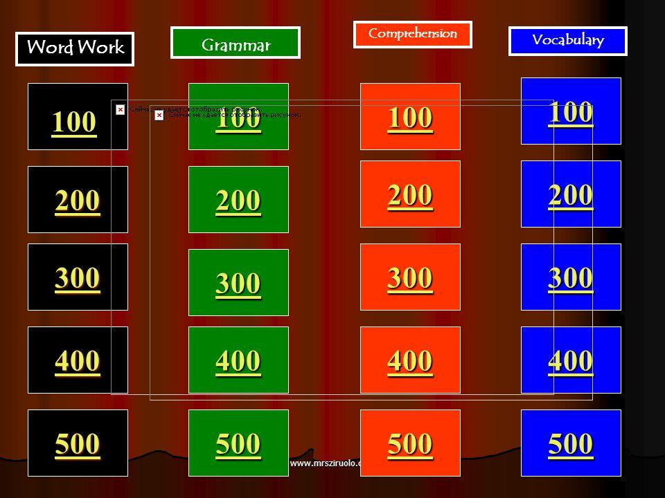 www.mrsziruolo.com 100 200 400 300 400 Word Work Grammar Comprehension Vocabulary 300 200 400 200 100 500 100