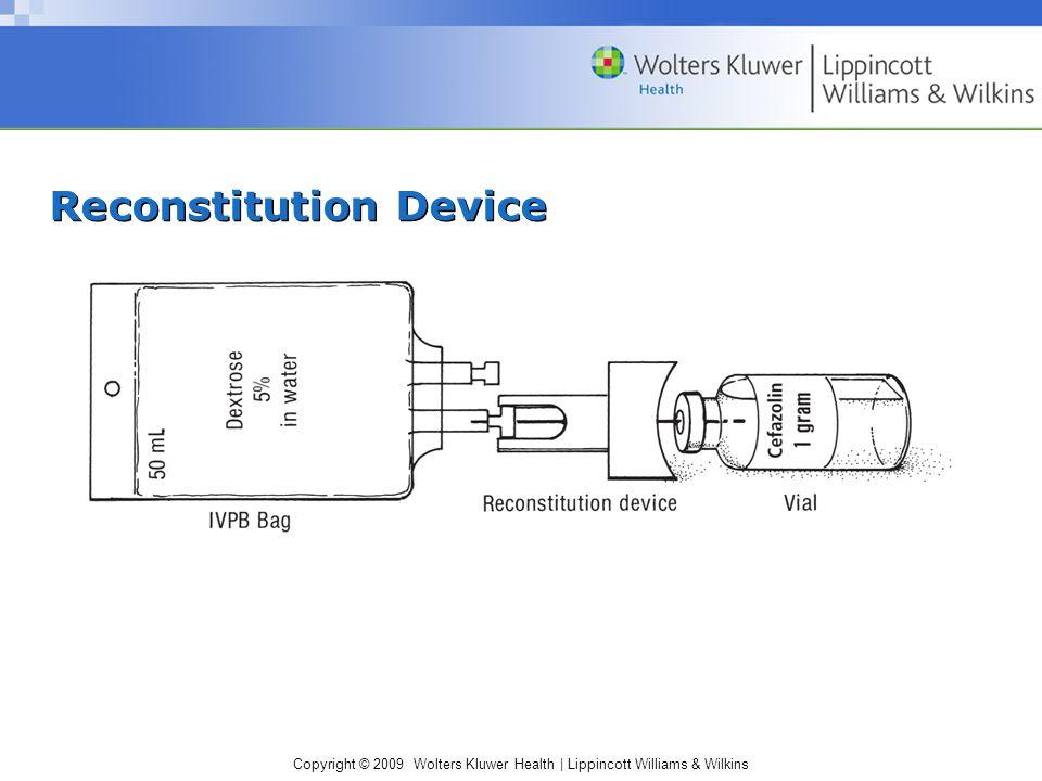 Copyright © 2009 Wolters Kluwer Health | Lippincott Williams & Wilkins Reconstitution Device