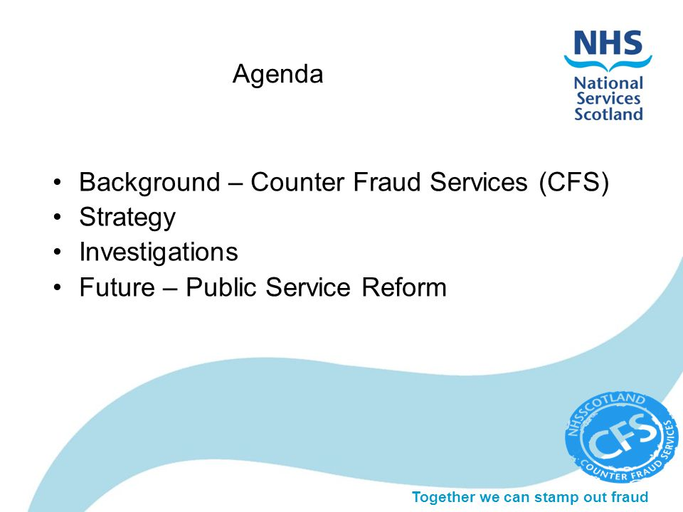 Together we can stamp out fraud Agenda Background – Counter Fraud Services (CFS) Strategy Investigations Future – Public Service Reform