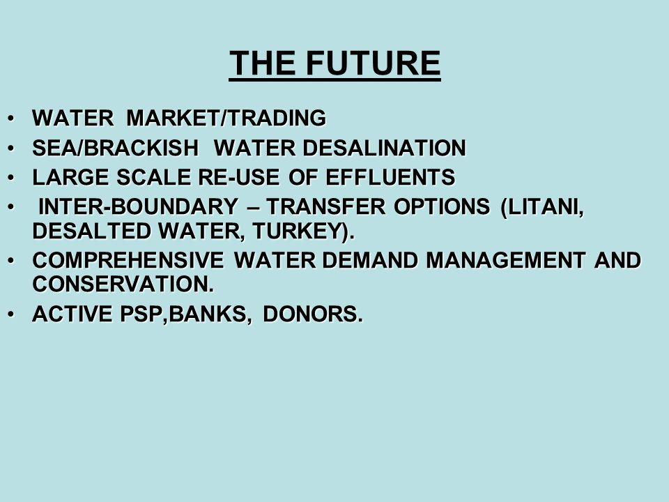 THE FUTURE WATER MARKET/TRADINGWATER MARKET/TRADING SEA/BRACKISH WATER DESALINATIONSEA/BRACKISH WATER DESALINATION LARGE SCALE RE-USE OF EFFLUENTSLARG