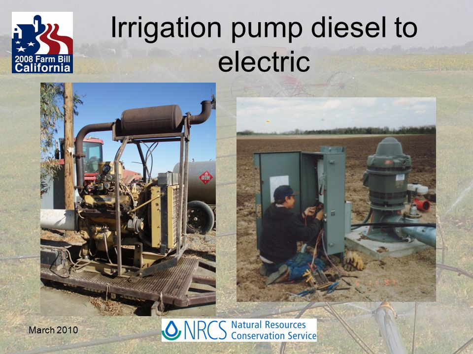 Irrigation pump diesel to electric March 2010