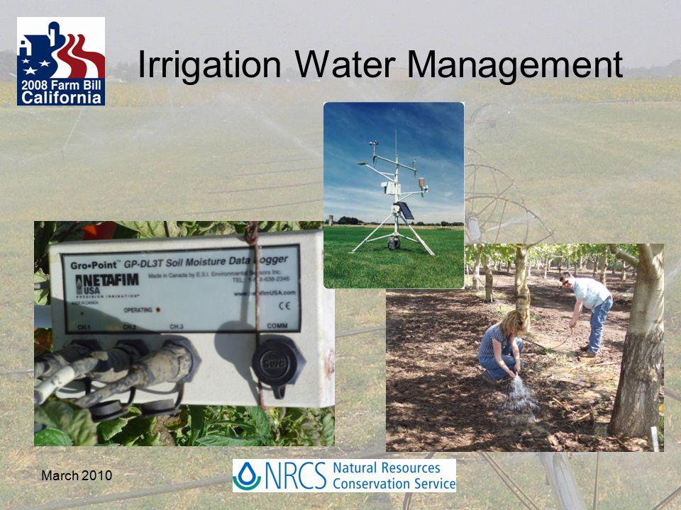 March 2010 Irrigation Water Management