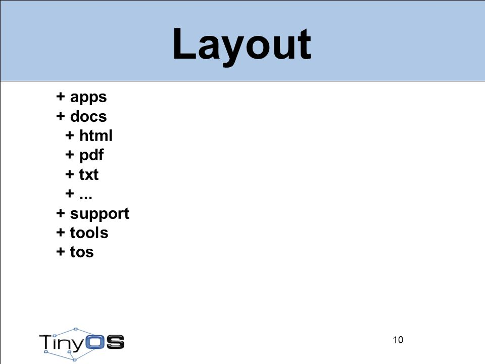 10 Layout 10 + apps + docs + html + pdf + txt +... + support + tools + tos