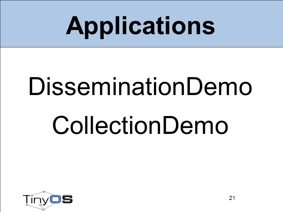 21 Applications DisseminationDemo CollectionDemo