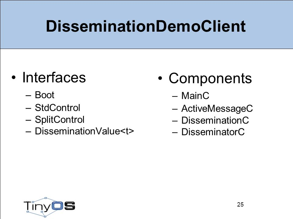 25 DisseminationDemoClient Interfaces –Boot –StdControl –SplitControl –DisseminationValue 25 Components –MainC –ActiveMessageC –DisseminationC –DisseminatorC