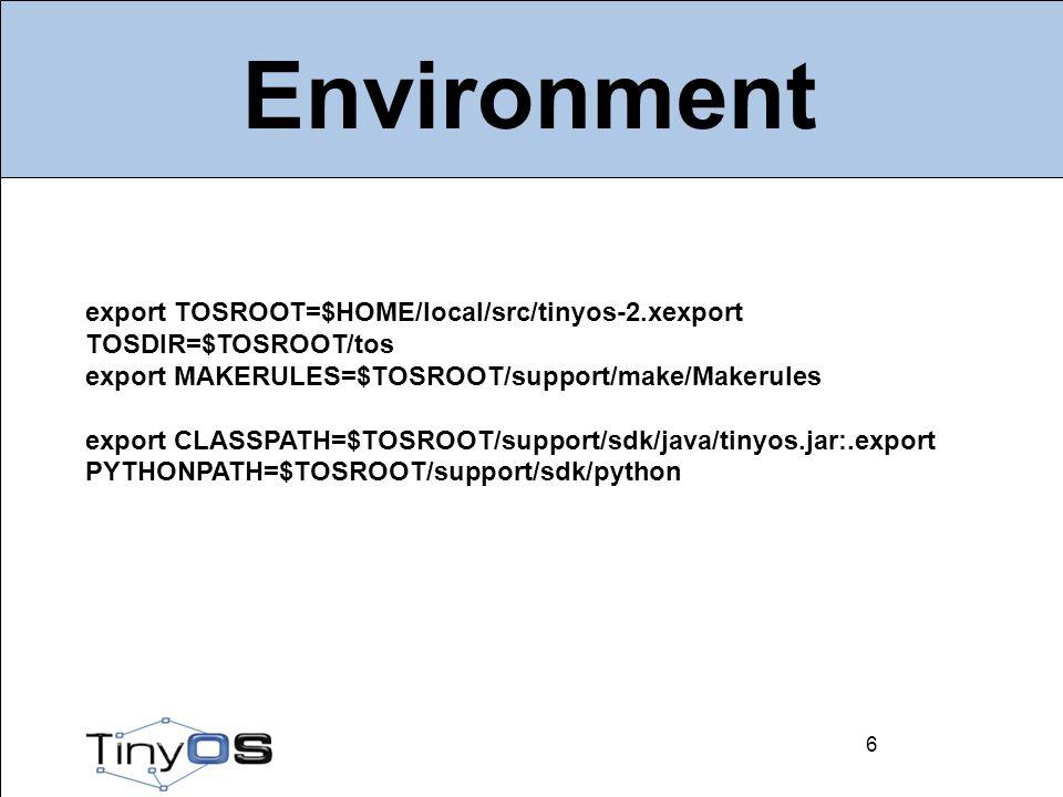 7 Architectures AVR –mica2, mica2dot –micaz –btnode –IRIS ARM –imote2 7 MSP430 –telosb, sky –shimmer –eyesIFX –tinynode –epic 8051 –CC2430 –CC1110/CC1111