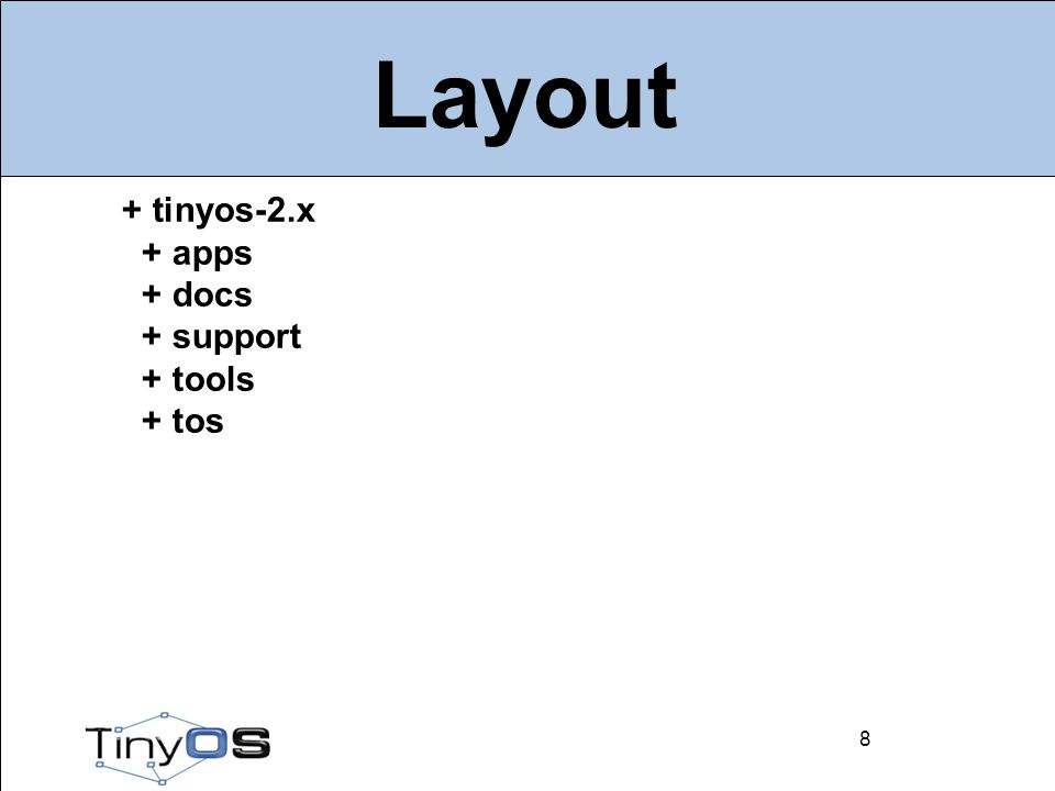 9 Layout 9 + apps + Blink + Null + RadioCountToLeds + MultihopOscilloscope + tests +...