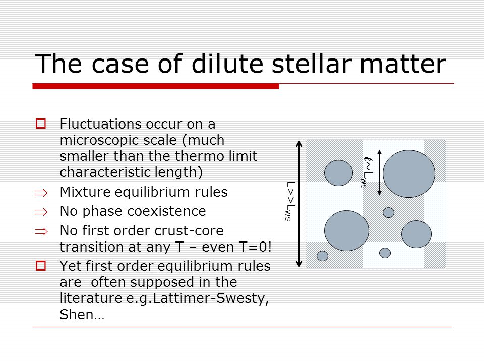The case of dilute stellar matter  Fluctuations occur on a microscopic scale (much smaller than the thermo limit characteristic length) Mixture equilibrium rules No phase coexistence No first order crust-core transition at any T – even T=0.