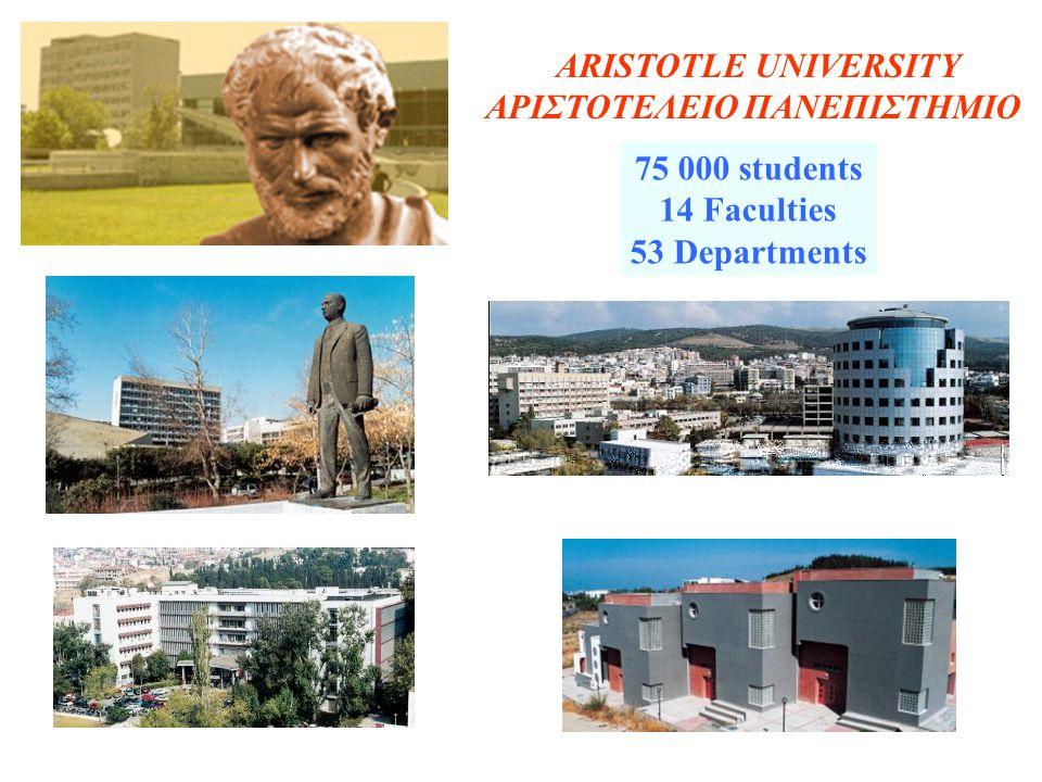 ARISTOTLE UNIVERSITY ΑΡΙΣΤΟΤΕΛΕΙΟ ΠΑΝΕΠΙΣΤΗΜΙΟ 75 000 students 14 Faculties 53 Departments
