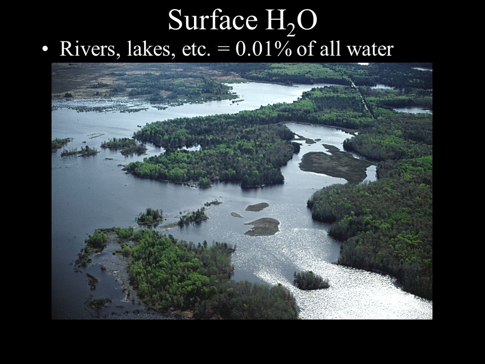 Surface H 2 O Rivers, lakes, etc. = 0.01% of all water