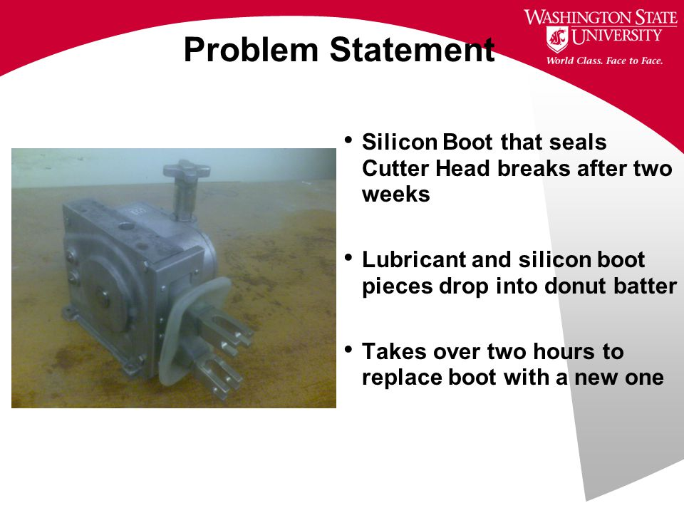 Benchmarking Eliminate lubricant leaking into the donut batter  Machined Trip Arms  Drip Plate Redesign  New Sleeve Bearing Design a boot that lasts longer  New Design has 25% less stress Keep same mounting points  Unchanged Keep same plunger motion  Unchanged Shorter boot replacement time  Detachable Trip Arms