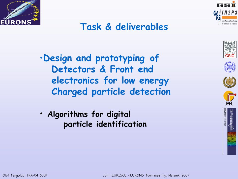 Olof Tengblad, JRA-04 DLEPJoint EURISOL - EURONS Town meeting, Helsinki 2007 Task & deliverables Design and prototyping of Detectors & Front end electronics for low energy Charged particle detection Algorithms for digital particle identification