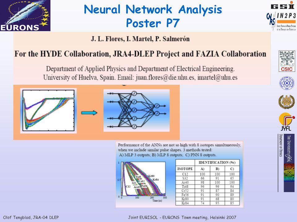 Olof Tengblad, JRA-04 DLEPJoint EURISOL - EURONS Town meeting, Helsinki 2007 Neural Network Analysis Poster P7