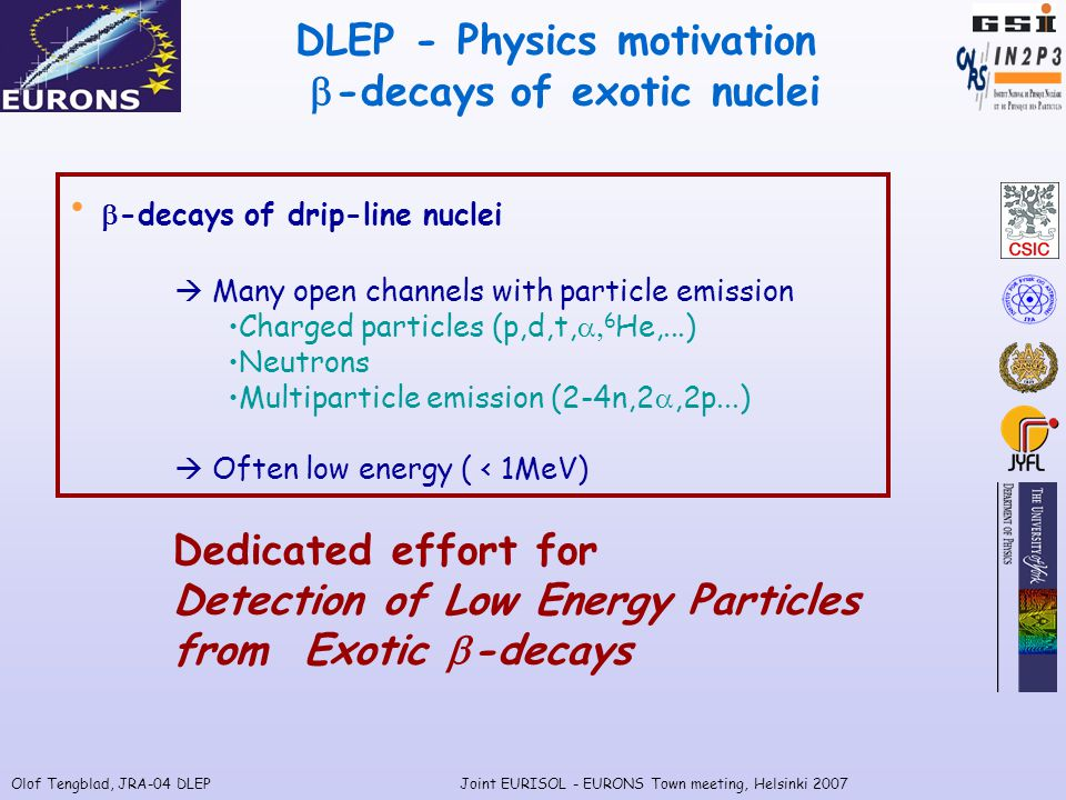 Olof Tengblad, JRA-04 DLEPJoint EURISOL - EURONS Town meeting, Helsinki 2007 DLEP - Physics motivation  -decays of exotic nuclei  -decays of drip-line nuclei  Many open channels with particle emission Charged particles (p,d,t,  6 He,...) Neutrons Multiparticle emission (2-4n,2 ,2p...)  Often low energy ( < 1MeV) Dedicated effort for Detection of Low Energy Particles from Exotic  -decays