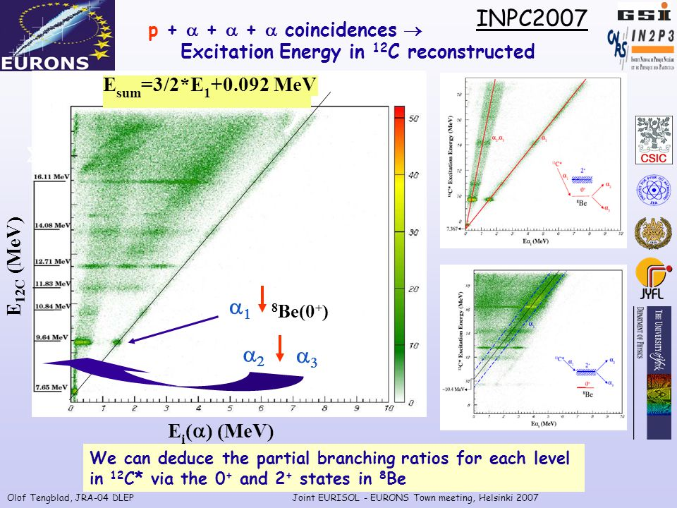 Olof Tengblad, JRA-04 DLEPJoint EURISOL - EURONS Town meeting, Helsinki 2007 E i (  ) (MeV) E sum =3/2*E 1 +0.092 MeV E 12C (MeV) p +  +  +  coincidences  Excitation Energy in 12 C reconstructed 12 C *  8 Be(0 + )   EE We can deduce the partial branching ratios for each level in 12 C* via the 0 + and 2 + states in 8 Be INPC2007