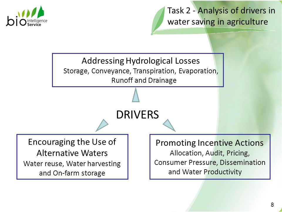 Task 2 - Analysis of drivers in water saving in agriculture 8 Addressing Hydrological Losses Storage, Conveyance, Transpiration, Evaporation, Runoff and Drainage Encouraging the Use of Alternative Waters Water reuse, Water harvesting and On-farm storage Promoting Incentive Actions Allocation, Audit, Pricing, Consumer Pressure, Dissemination and Water Productivity DRIVERS