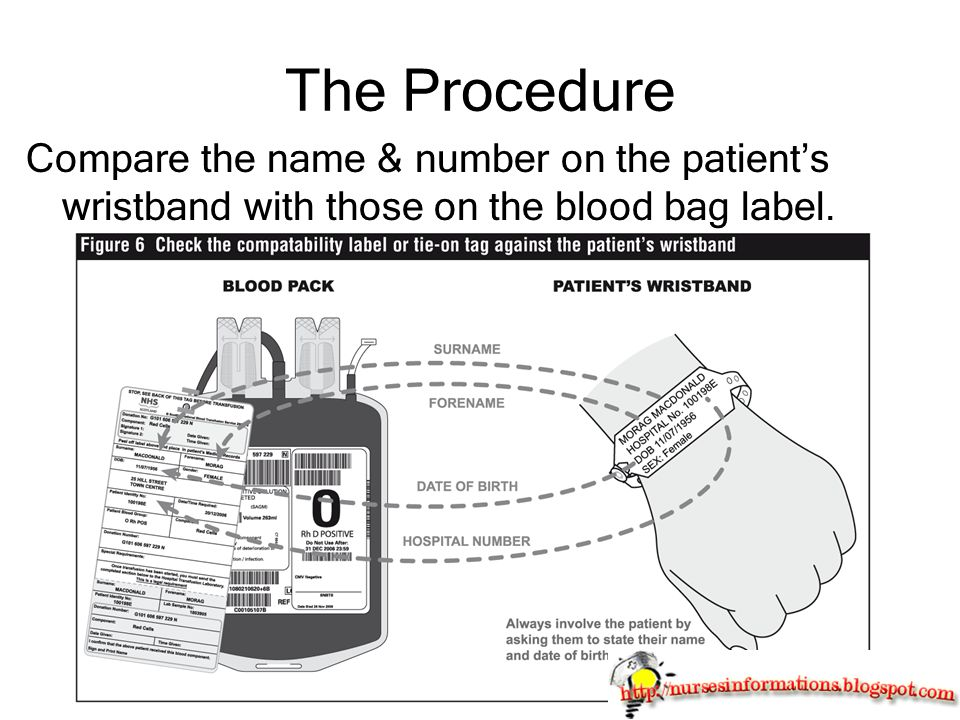 The Procedure Compare the name & number on the patient's wristband with those on the blood bag label.