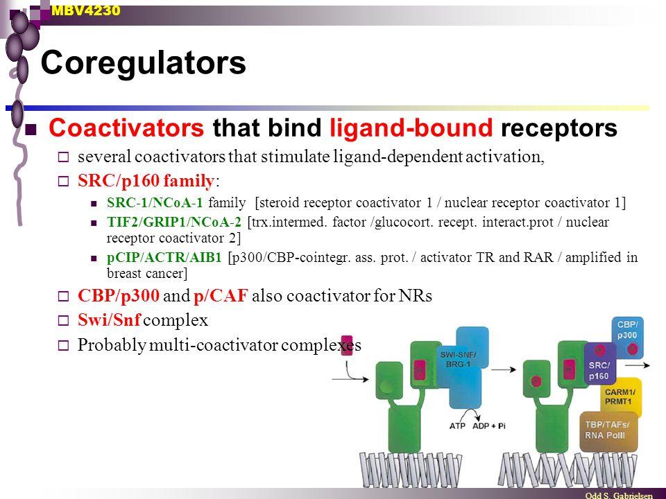 MBV4230 Odd S. Gabrielsen Coregulators Coactivators that bind ligand-bound receptors  several coactivators that stimulate ligand-dependent activation