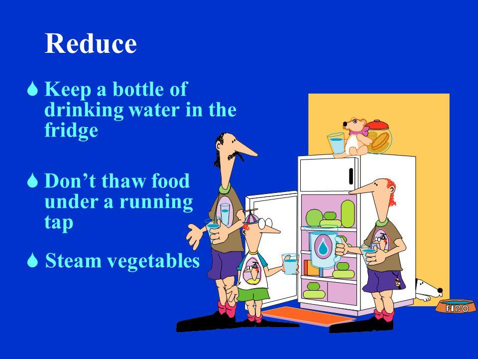 Reduce Automatic dishwasher.  full loads  energy-saver setting Wash dishes by hand.