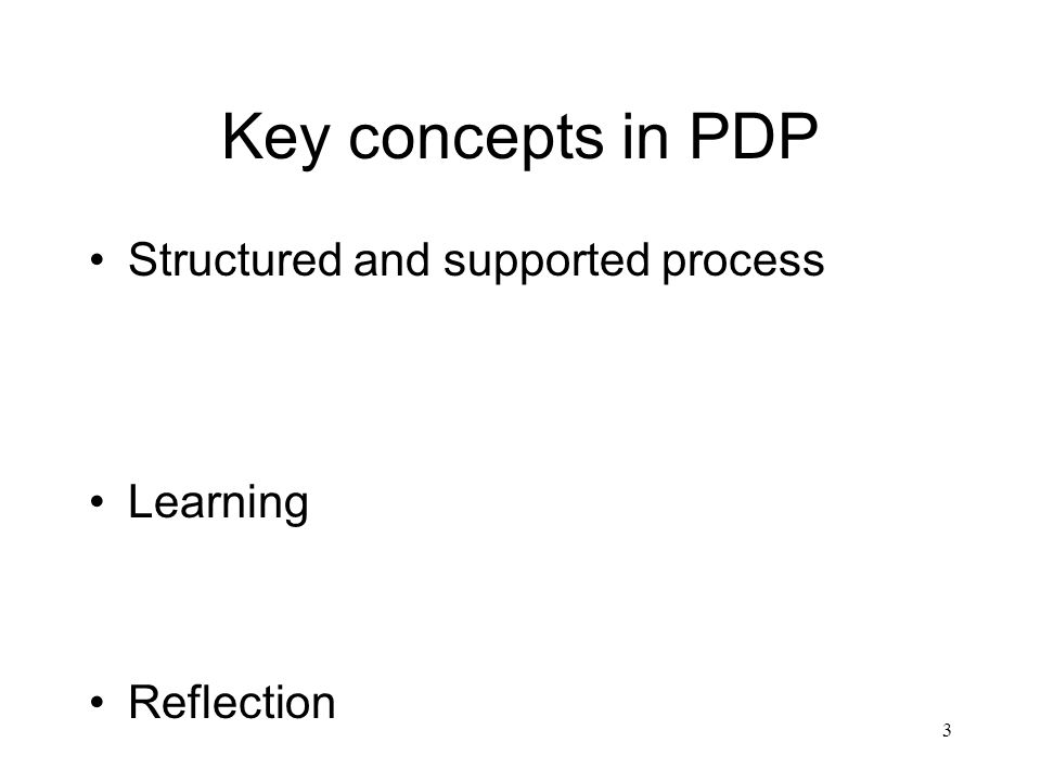 3 Key concepts in PDP Structured and supported process Learning Reflection