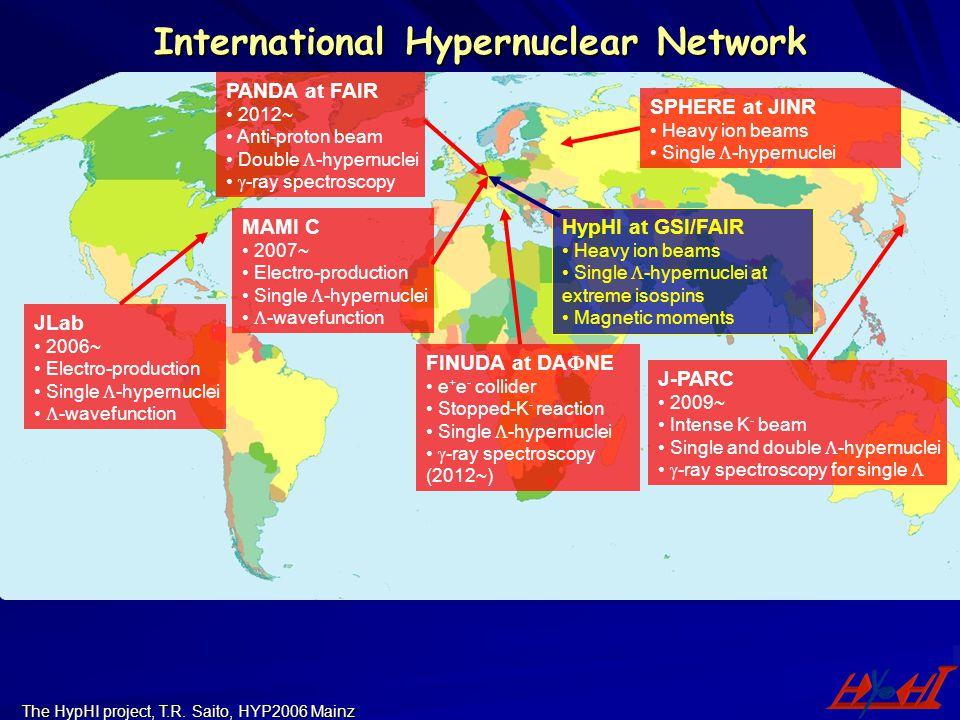 The HypHI project, T.R. Saito, HYP2006 Mainz International Hypernuclear Network PANDA at FAIR 2012~ Anti-proton beam Double  -hypernuclei  -ray spec