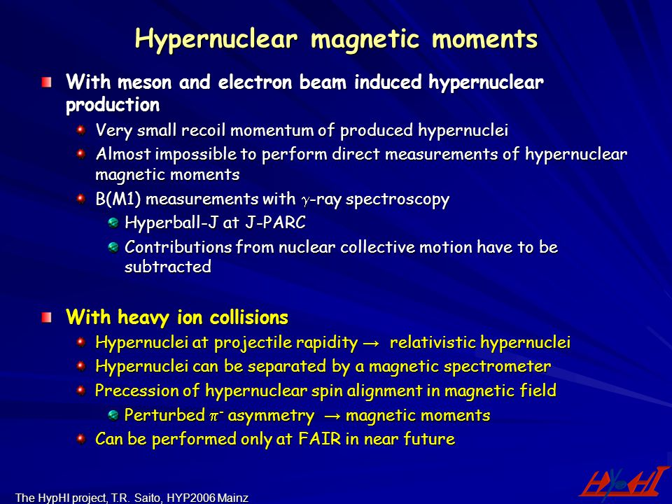 The HypHI project, T.R. Saito, HYP2006 Mainz Hypernuclear magnetic moments With meson and electron beam induced hypernuclear production Very small rec
