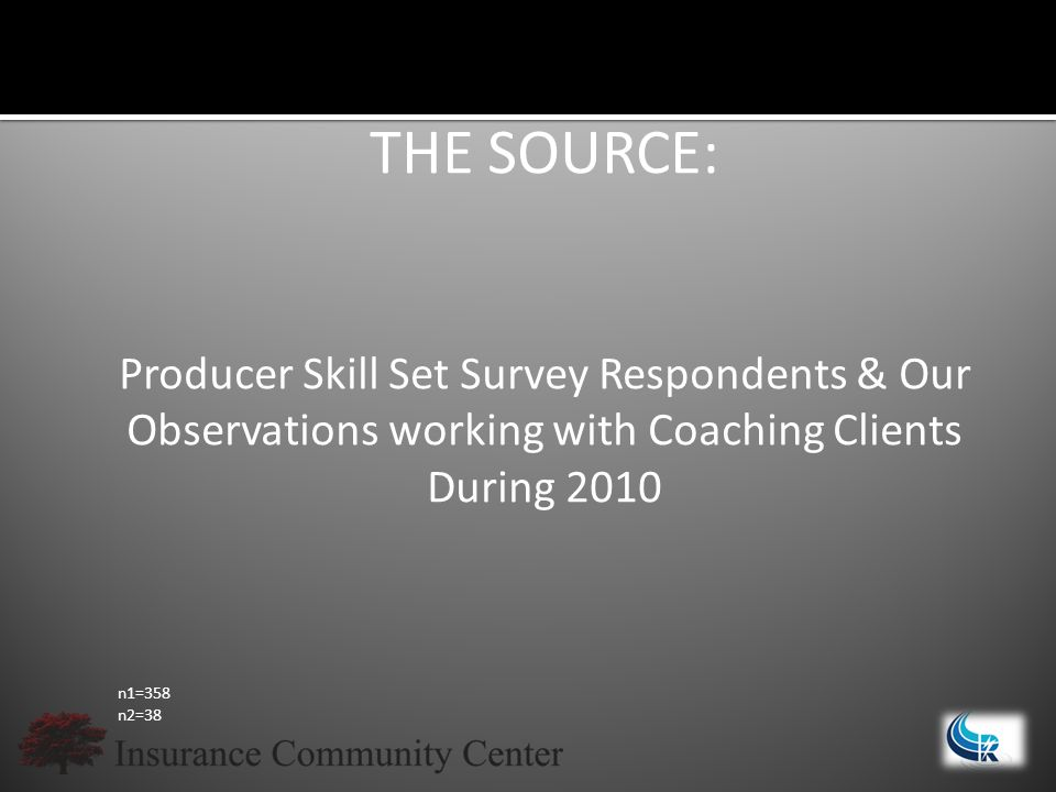 THE SOURCE: Producer Skill Set Survey Respondents & Our Observations working with Coaching Clients During 2010 n1=358 n2=38