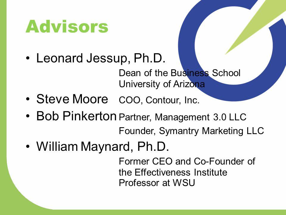 Advisors Leonard Jessup, Ph.D. Dean of the Business School University of Arizona Steve Moore COO, Contour, Inc. Bob Pinkerton Partner, Management 3.0