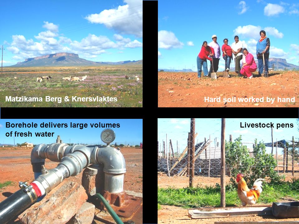 Matzikama Berg & Knersvlaktes Hard soil worked by hand Borehole delivers large volumes of fresh water Livestock pens