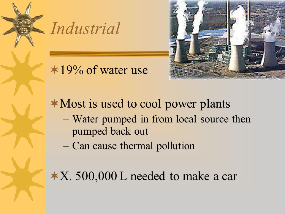 Industrial  19% of water use  Most is used to cool power plants –Water pumped in from local source then pumped back out –Can cause thermal pollution  X.