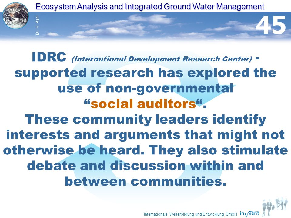 Ecosystem Analysis and Integrated Ground Water Management Dr.