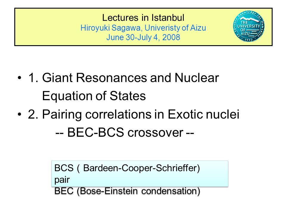 Lectures in Istanbul Hiroyuki Sagawa, Univeristy of Aizu June 30-July 4, 2008 1.