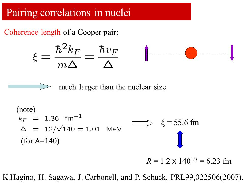 Pairing correlations in nuclei Coherence length of a Cooper pair: much larger than the nuclear size (note)  = 55.6 fm R = 1.2 x 140 1/3 = 6.23 fm (for A=140) K.Hagino, H.