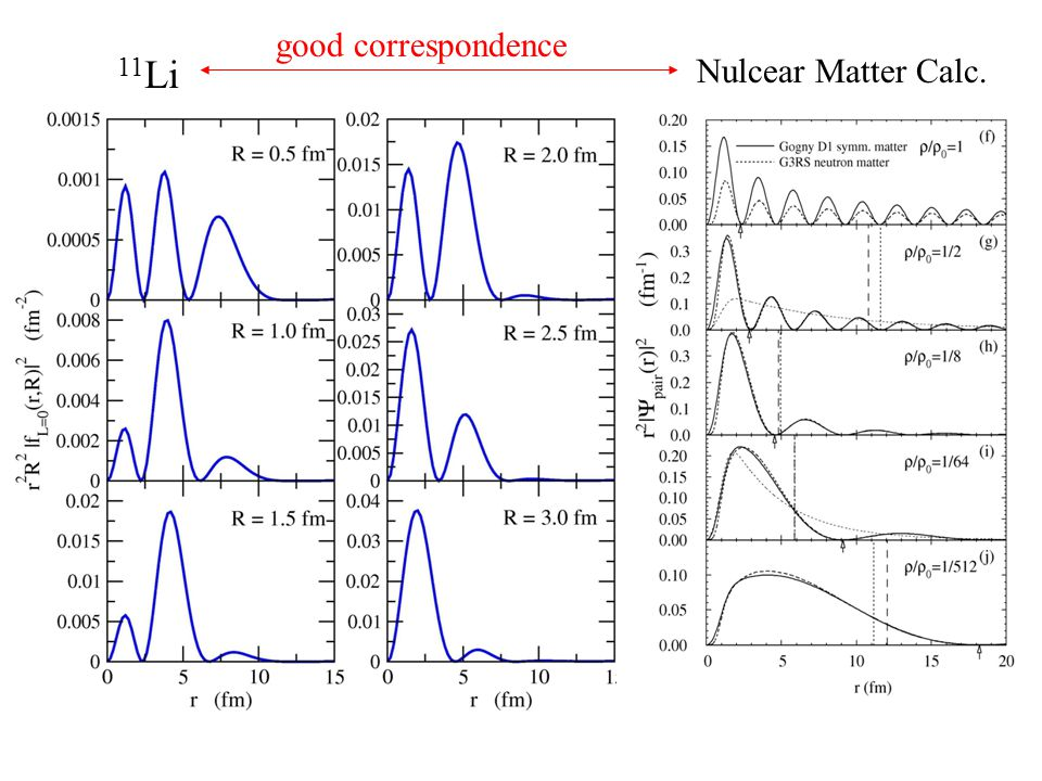 Nulcear Matter Calc. 11 Li good correspondence