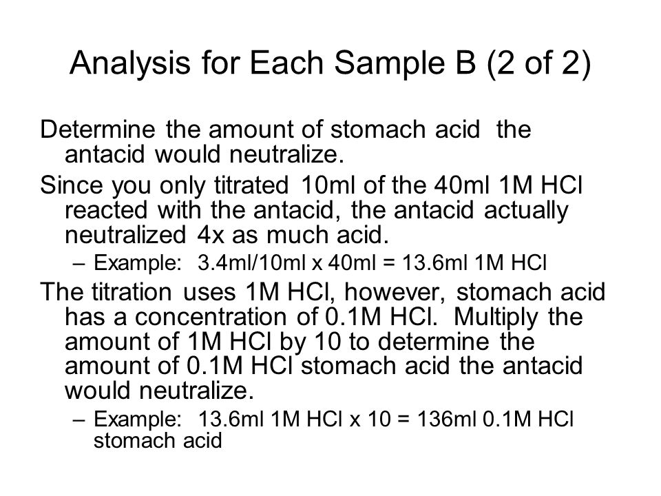 Analysis for Each Sample B (2 of 2) Determine the amount of stomach acid the antacid would neutralize.