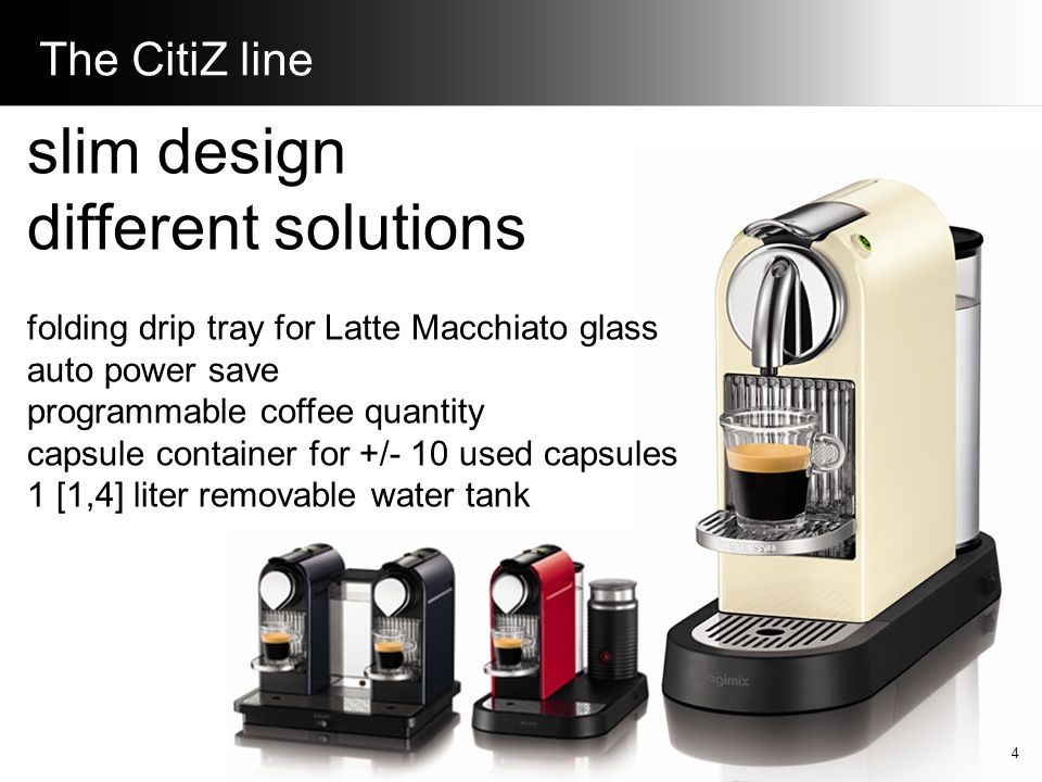 The Le Cube line timeless cubic design cup-storage cup-warming side plates auto power save programmable coffee quantity capsule container for +/- 15 used capsules 1 liter removable water tank 5