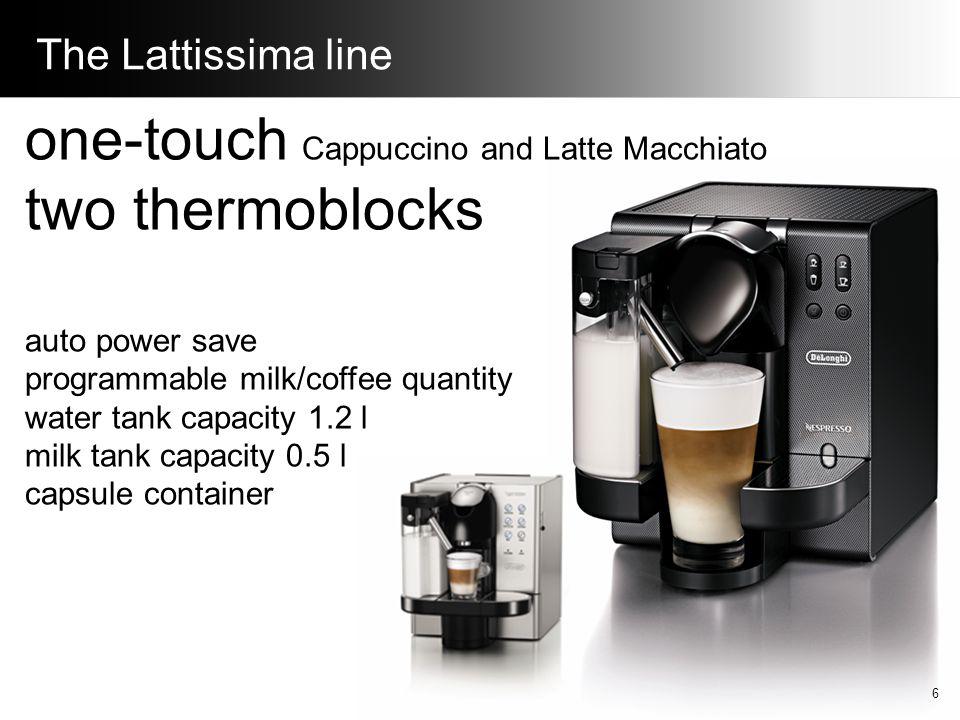 The Lattissima line one-touch Cappuccino and Latte Macchiato two thermoblocks auto power save programmable milk/coffee quantity water tank capacity 1.2 l milk tank capacity 0.5 l capsule container 6