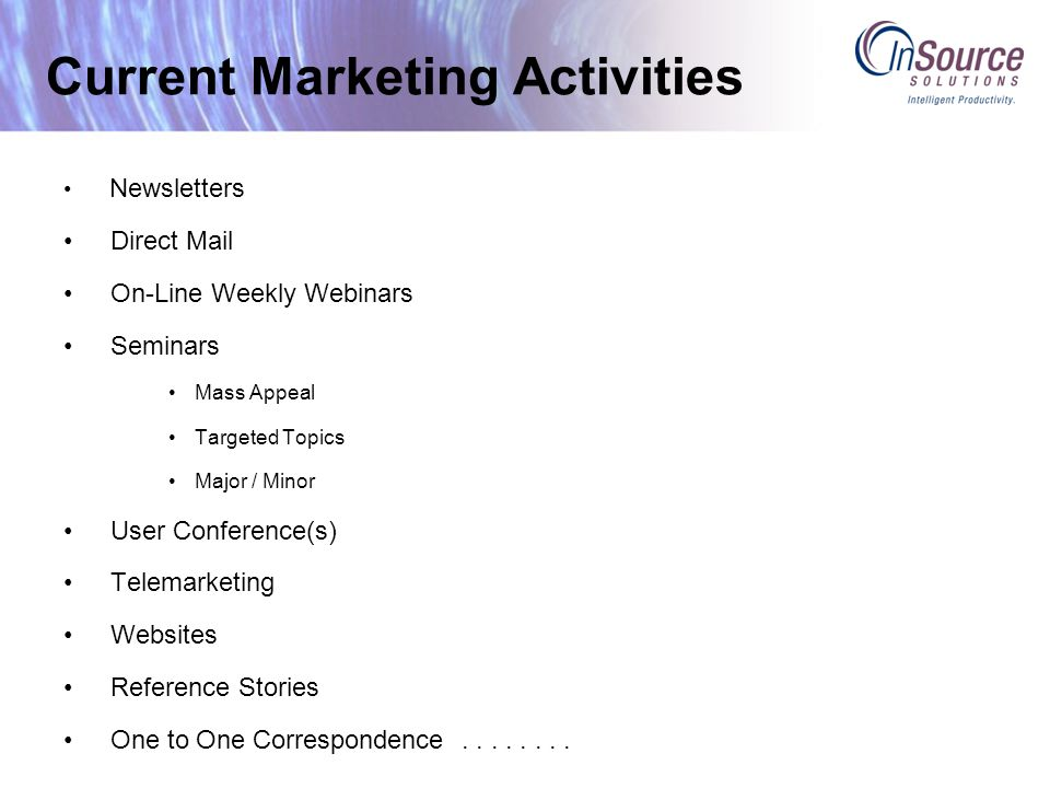 Current Marketing Activities Newsletters Direct Mail On-Line Weekly Webinars Seminars Mass Appeal Targeted Topics Major / Minor User Conference(s) Telemarketing Websites Reference Stories One to One Correspondence........
