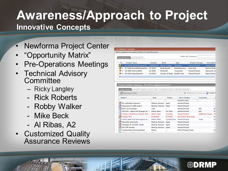 Awareness/Approach to Project Innovative Concepts Newforma Project Center Opportunity Matrix Pre-Operations Meetings Technical Advisory Committee –Ricky Langley -Rick Roberts -Robby Walker -Mike Beck -Al Ribas, A2 Customized Quality Assurance Reviews