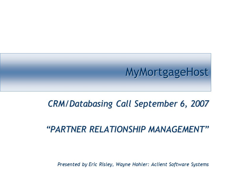 MyMortgageHost ~ Managing details.Delivering results.