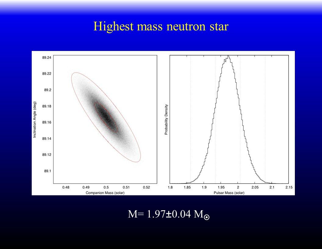 Highest mass neutron star M= 1.97±0.04 M 