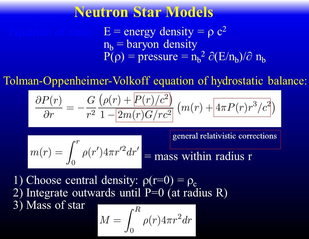 Neutron Star Models = mass within radius r E = energy density =  c 2 n b = baryon density P(  ) = pressure = n b 2  (E/n b )/  n b Equation of state: Tolman-Oppenheimer-Volkoff equation of hydrostatic balance: general relativistic corrections 1) Choose central density:  (r=0) =  c 2) Integrate outwards until P=0 (at radius R) 3) Mass of star