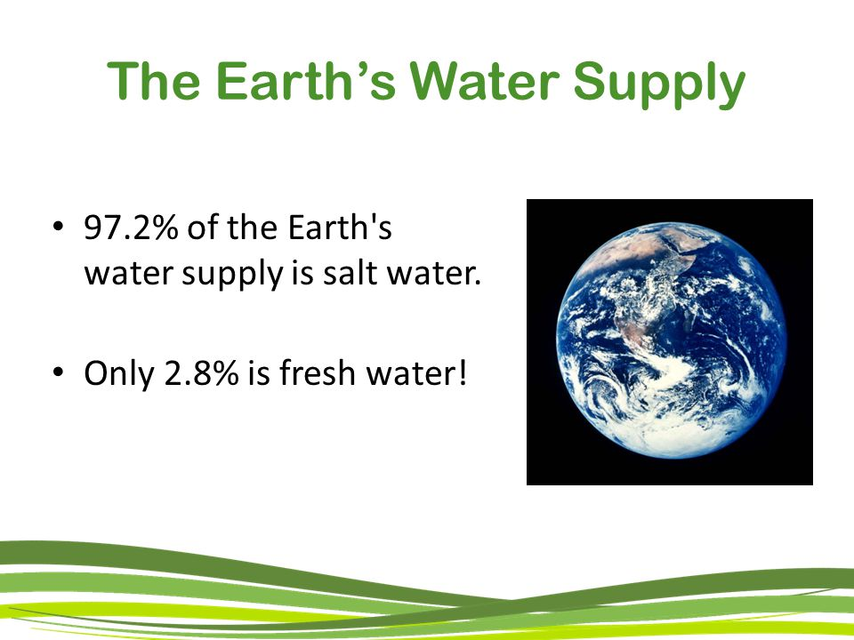 The Earth's Water Supply 97.2% of the Earth s water supply is salt water. Only 2.8% is fresh water!