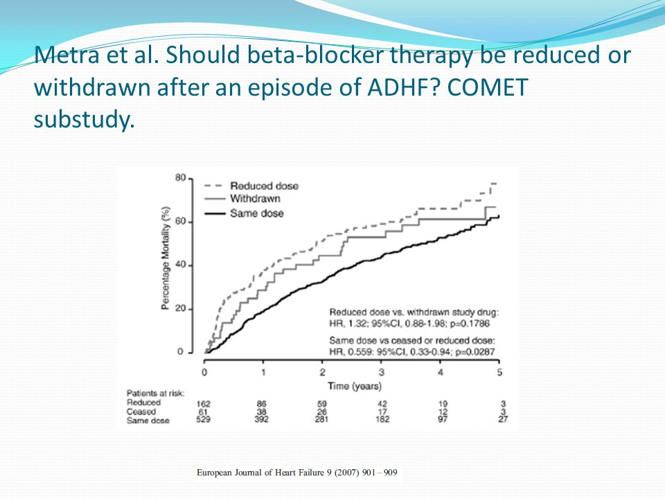 Metra et al. Should beta-blocker therapy be reduced or withdrawn after an episode of ADHF? COMET substudy.